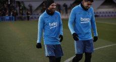 ميسى فى تدريبات برشلونة استعداد لمباراة الريال بكأس ملك اسبانيا