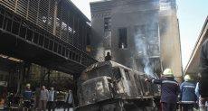 حريق رصيف قطار السكة الحديد