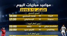 مواعيد مباريات اليوم فى الدوري المصرى وأبطال أوروبا وأسيا
