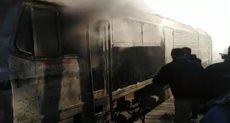 حريق قطار بجرار