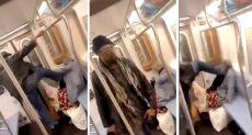 شاب يعتدى على امراة مسنة فى المترو