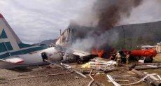 اشتعال النيران فى طائرة روسية