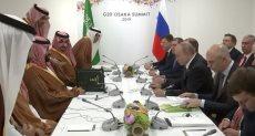 خلال جلسة المباحثات بين بوتين وبن سلمان