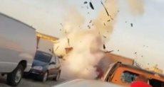 لحظة انفجار السيارة