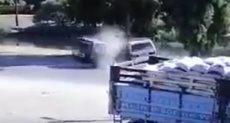 تصادم سيارتين ميكروباص على طريق أسيوط الزراعى