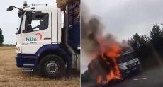 الشاحنة تحترق