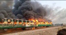 حريق هائل فى قطار بباكستان