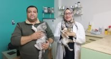ولاء طبيبة بيطرية تكشف على الحيوانات الأليفة فى سوهاج
