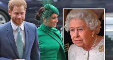 الملكة إليزابيث والأمير هارى وزوجته ميجان ماركل