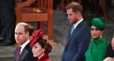 الأمير هارى وميجان ماركل والأمير وليام وكيت ميدلتون