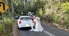 العروسين خلال التصوير