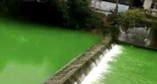 نهر يتحول إلى اللون الأخضر