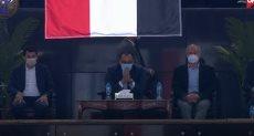 رئيس الوزراء أثناء حضوره مباراة مصر وسلوفينيا