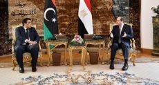 جانب من لقاء الرئيس السيسى ومحمد المنفى رئيس المجلس الرئاسى الليبى