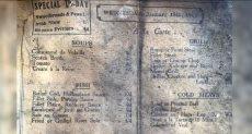صورة من قائمة طعام تعود لـ 100 عام