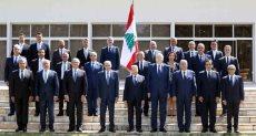 أعضاء حكومة لبنان مع الرئيس عون ورئيس البرلمان